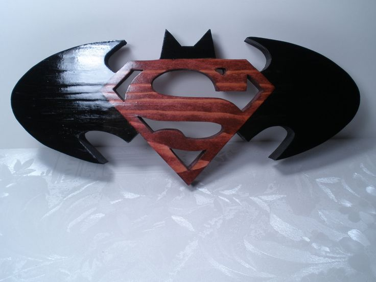 "Batman & Superman Logo - Two In One Custom Made 10.5"" x 4.5"" Wall Art Solid Wood"