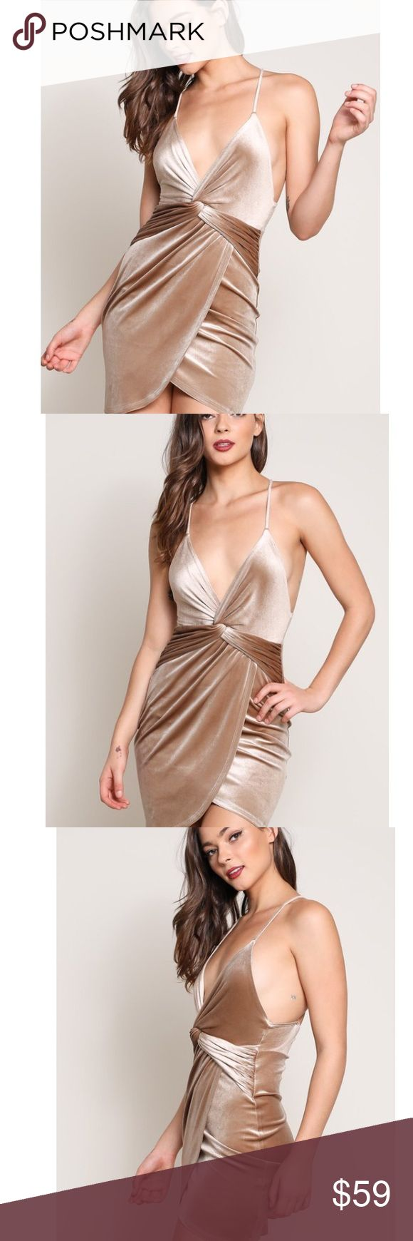 """Iris Taupe Nude Gold Velvet Dress New Boutique Item. The Iris Dress features a tight to body silhouette, twisted front detail, criss cross back, v neckline, spaghetti straps, stretch, and velvet fabrication perfect for the holidays! Length: 32"""" measured from Small Material: 92% polyester, 8% spandex Color: Taupe Nude (Gold tone) ✖️NO Trades New Years Eve Dress Cocktail Dress Party Dress Sizing: Small: 0-2 Medium: 4-6 Large: 8-10 Dresses Mini"""