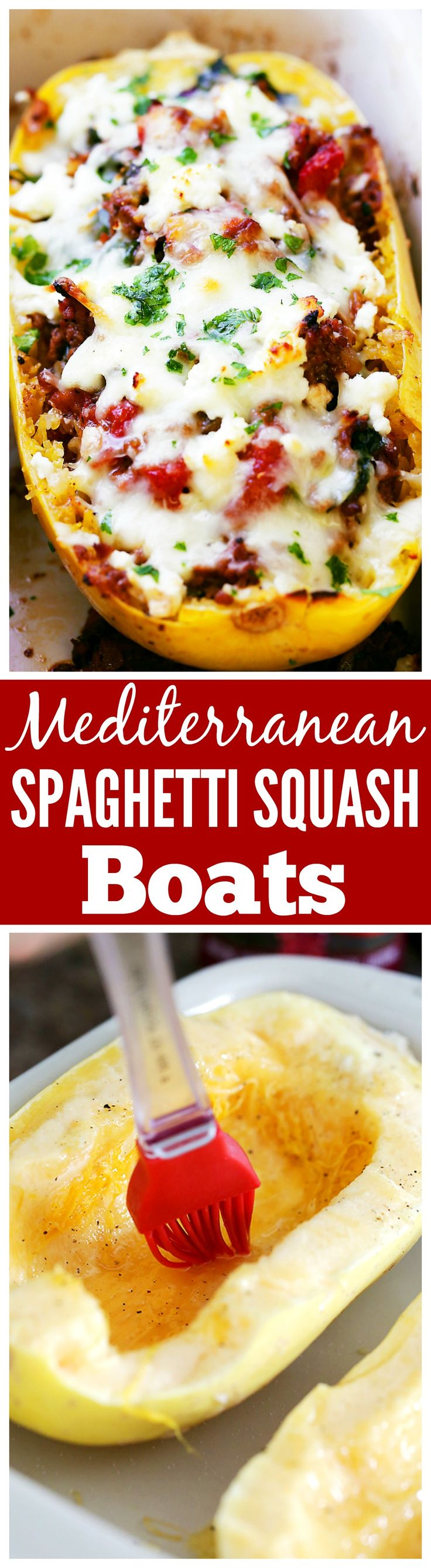 Mediterranean Spaghetti Squash Boats - Delicious, healthy, easy to make Spaghetti Squash boats loaded with ground turkey, tomatoes, kale and feta cheese.(Bake Squash Boats)