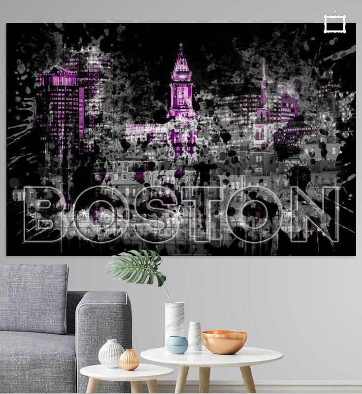 Pop Art BOSTON Skyline   lila von Melanie Viola  #boston  #wandbild #modern #shopping #art #wohnen #kunst #typisch #Straßenszene #digitalart #digitalartist #wallart #skyline