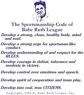 sportsmanship code babe ruth league circa youth sports  sportsmanship code babe ruth league circa 1954 youth sports babe ruth volleyball and hockey