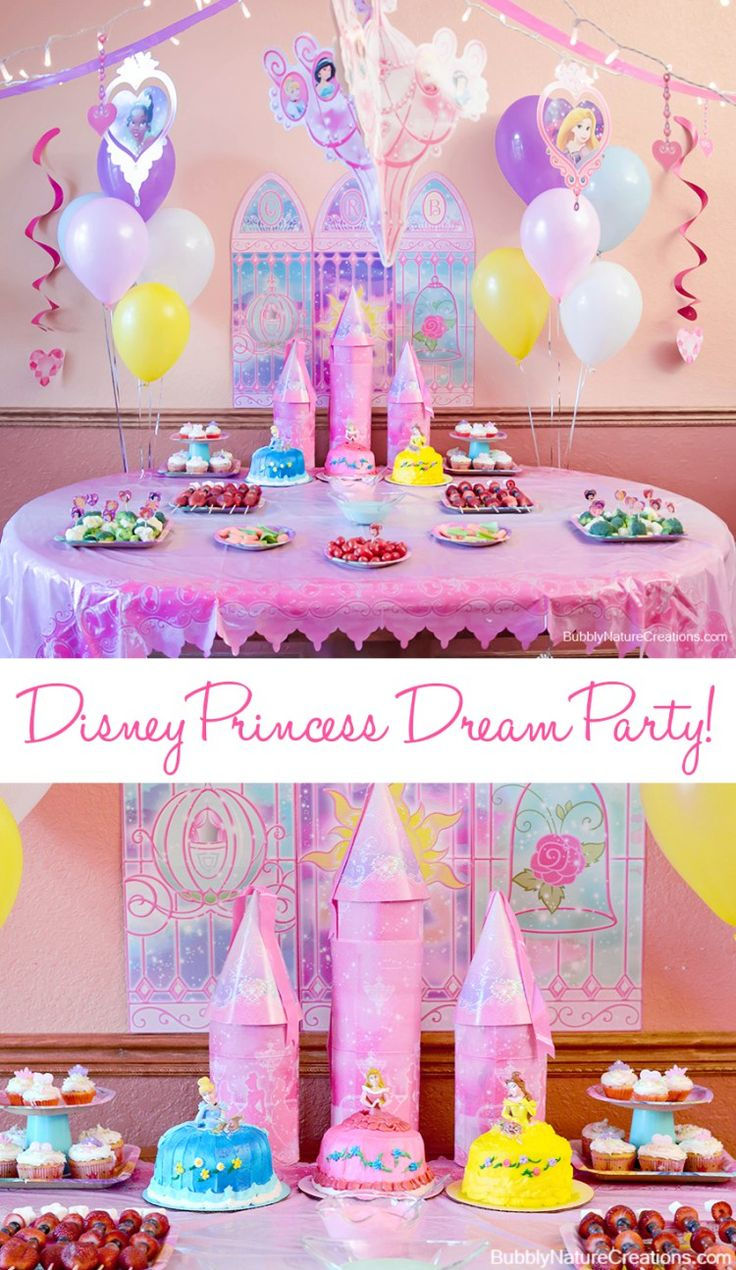 Disney Princess Party Décor Ideas. I like the balloons and wall pic in the background.