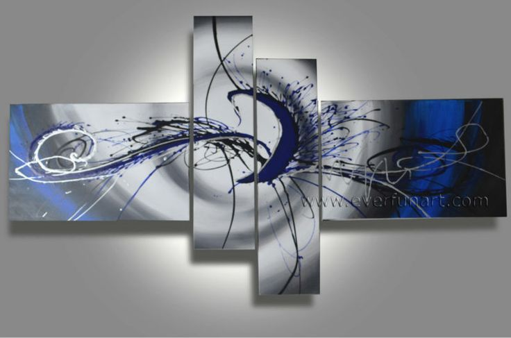4160 Handpainted 4 Piece White Black Modern Abstract Wall Art Oil Painting On Canvas Large Picture For Living Room Free Shipping $48.00