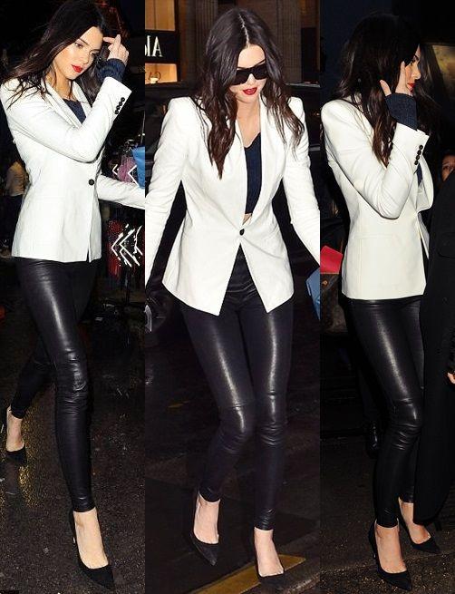 Saco blanco con un outfit totalmente negro . De lo mejor