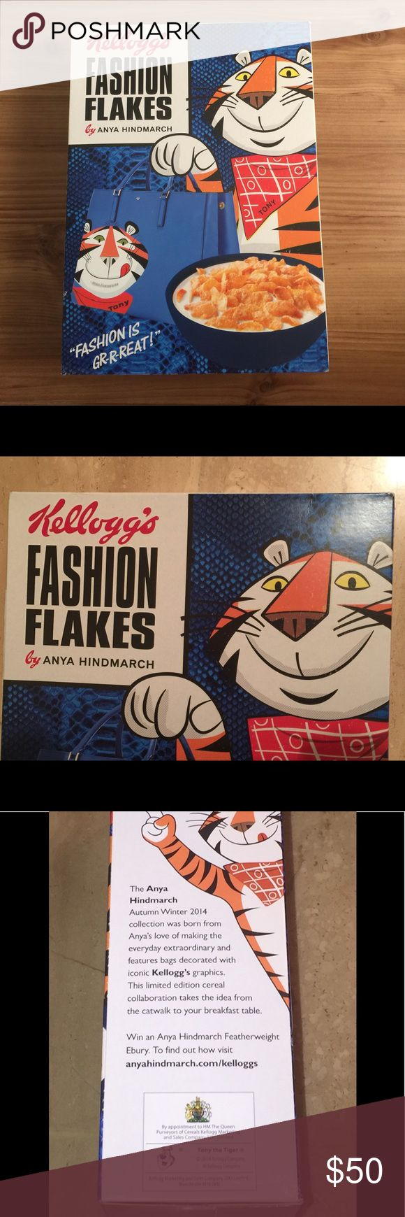 Anya Hindmarch Fashion Flakes Kelloggs Tony Tiger This super rare box of Anya Hindmarch Fashion Flakes to coincide with the release with the Tony The Tiger handbag!  This is full box.  Notes on condition.  Box is in very good condition.  There is creasing on the left and right bottom sides of the  box.  The box picture is the same on the front and back.  See pictures.   This is a 750 gram box.  This box is for collectable purposes only, and is past the expiration date.  It is NOT recommended…