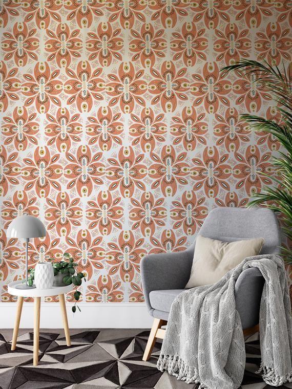 Boho Floral Wallpaper Self Adhesive Wallpaper Stick On Wallpaper Accent Wallpaper Peel And St In 2020 Stick On Wallpaper Accent Wallpaper Self Adhesive Wallpaper