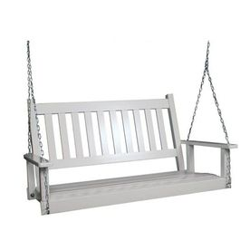 Garden treasures 2 seat wood traditional swing screen for Shanty 2 chic porch swing