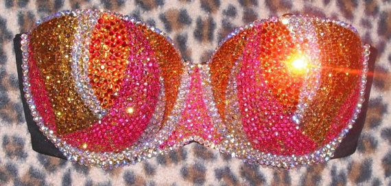 Multi Colour pink orange siam and gold Flame by DivaliciousBras, $45.99