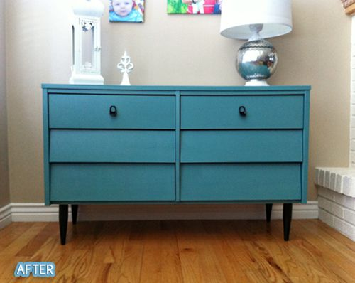Angled Drawer Dresser Painted Blue (Lagoon By Sherwin Williams). Find This  Pin And More On Painted Mid Century Modern Furniture ...