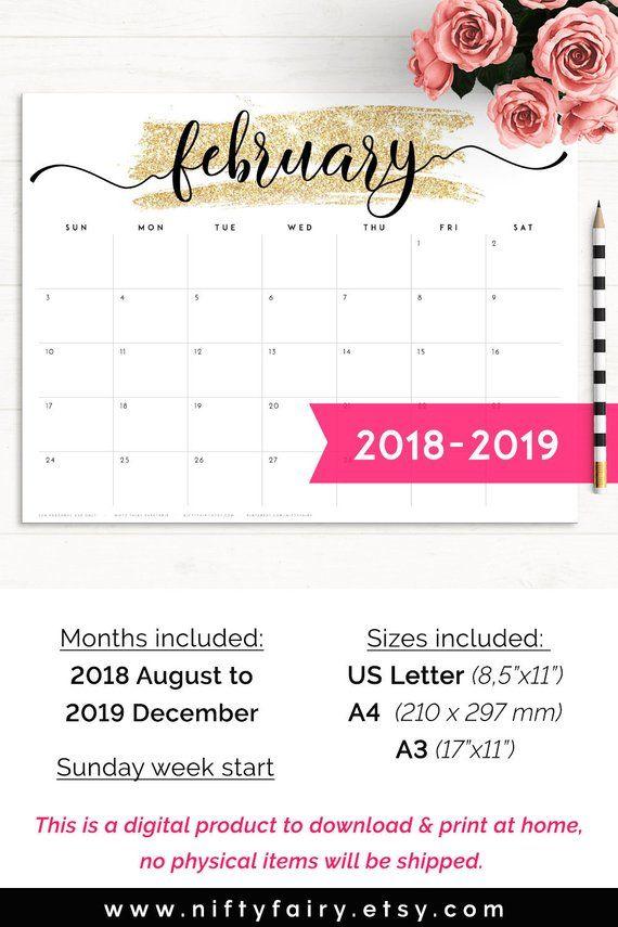 2019 Desk Calendar Monthly Planner 2018 2019 A3 Desk Planner