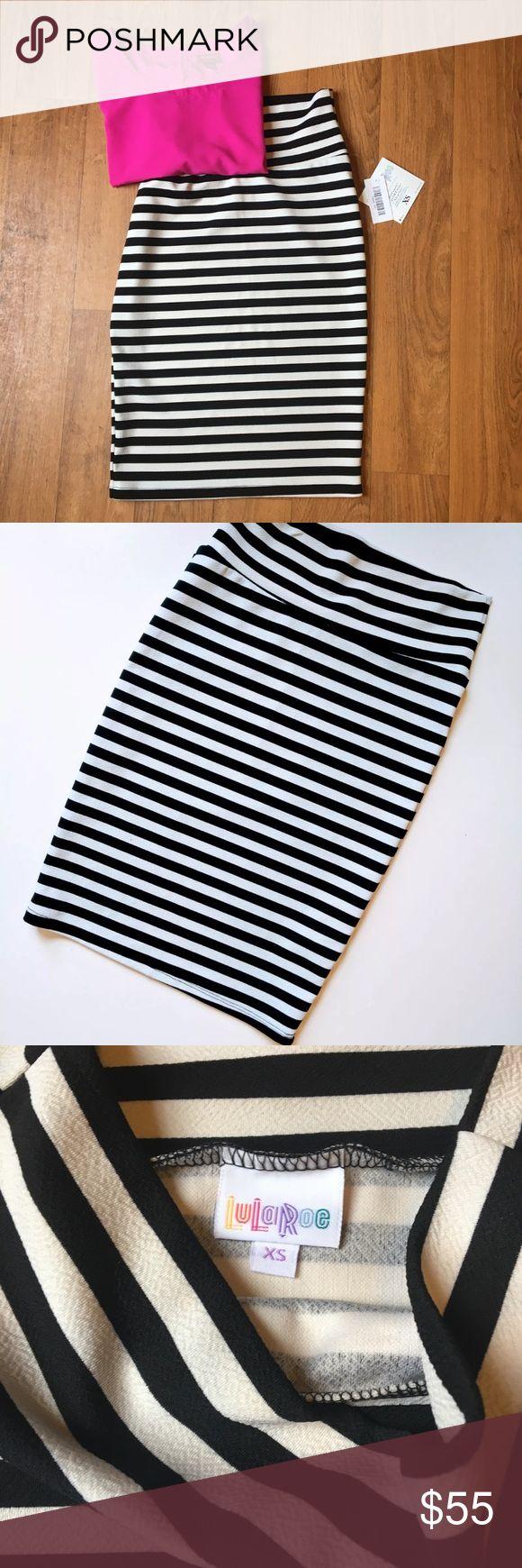 NWT Striped Lularoe Cassie Skirt Black and white striped Lularoe Cassie skirt. Skirt only. LuLaRoe Skirts
