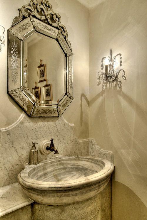 Houston powder room via home builder Allan Edwards