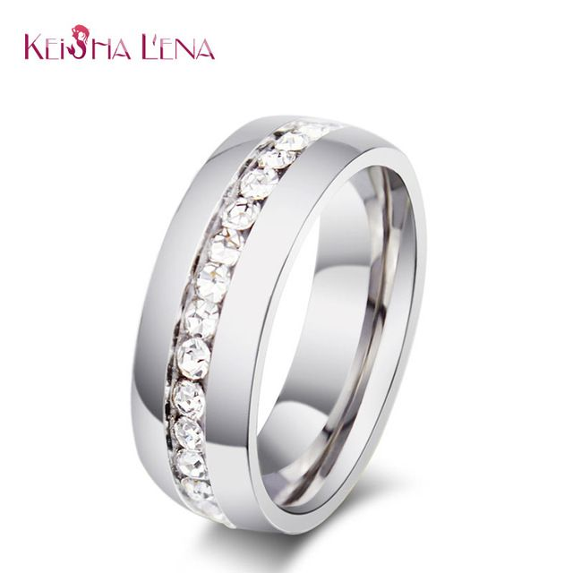 Keisha Lena Branco Banhado A Ouro Metade Eternity Banda Milgrain Pave Strass anéis de aço inoxidável Anel de Casamento para as mulheres de jóias