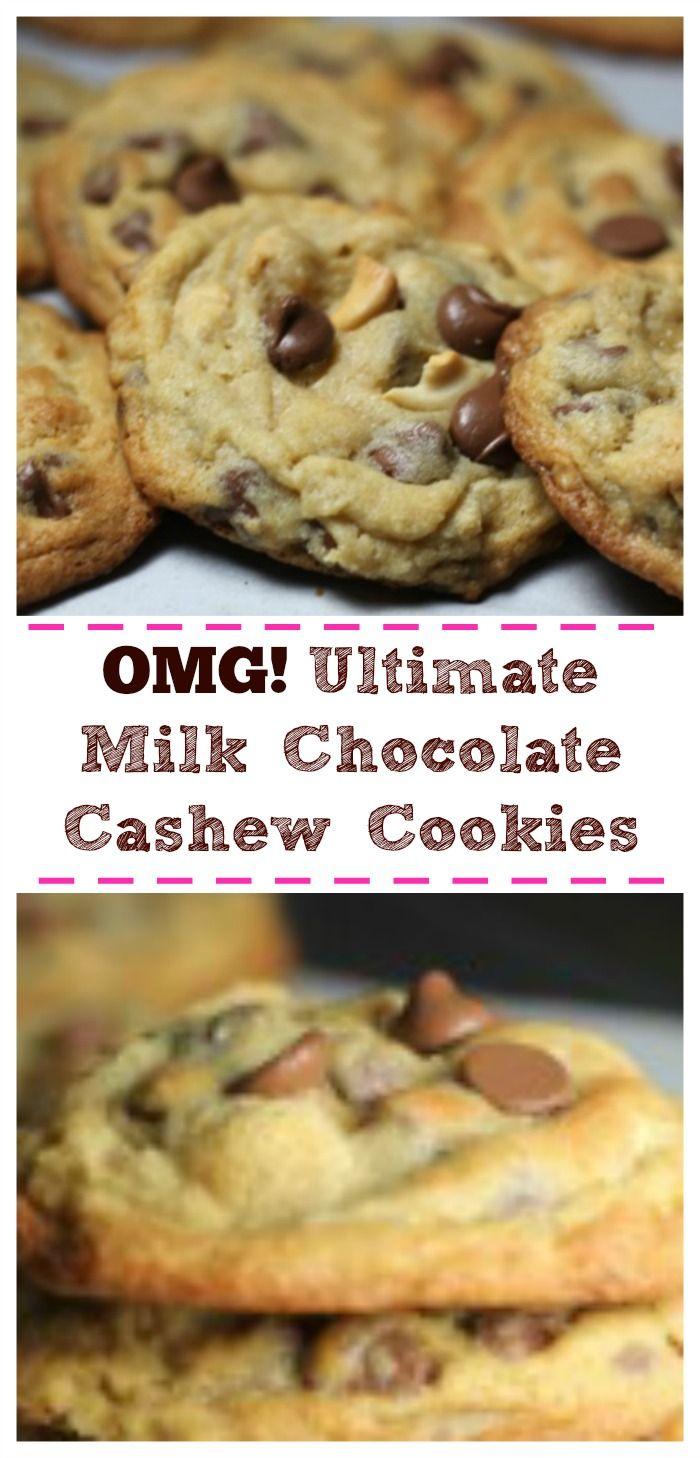 OMG! Ultimate Milk Chocolate Cashew Cookies via @https://www.pinterest.com/BaknChocolaTess/