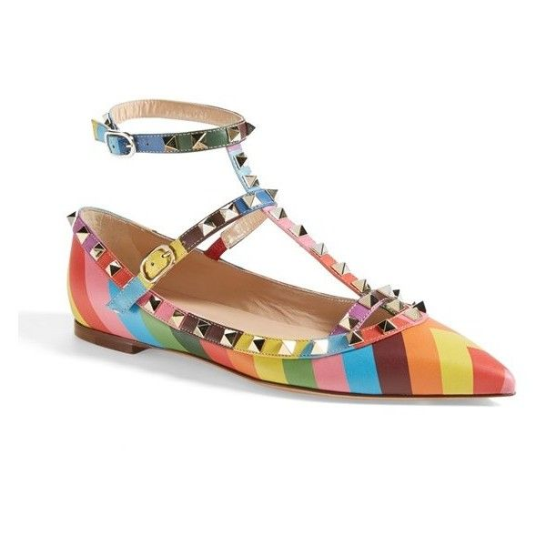 Women's Valentino 'Rockstud' T-Strap Ballet Flat (18,295 MXN) ❤ liked on Polyvore featuring shoes, flats, multi color, multi colored ballet flats, t strap ballet flats, colorful ballet flats, ballerina pumps and t strap shoes