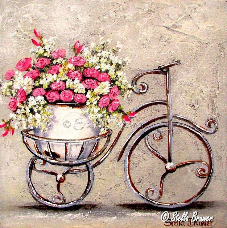 Открытка, винтажные картинки с велосипедом