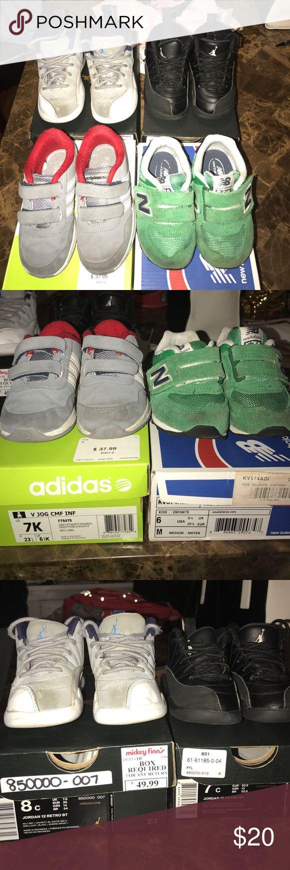 Toddler jordans Green New Balance - 6c $5 // Grey Adidas 7c - $5 // Black 12s 7c - $10 // Grey 12s - $8 // buyer pays for shipping. Jordan Shoes Sneakers