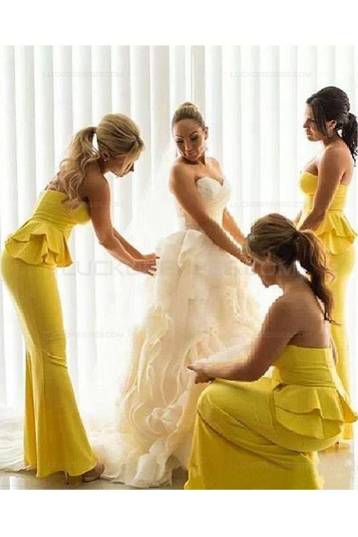 Mermaid Long Yellow Wedding Guest Dresses Bridesmaid Dresses 3010201