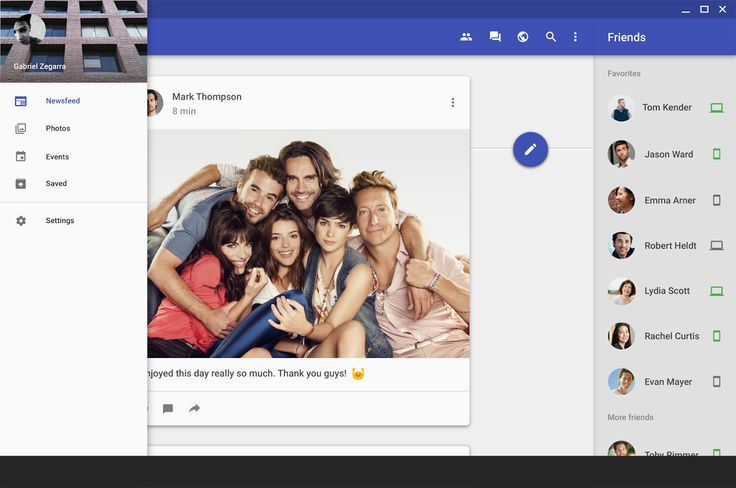 Facebook Web with Material Design.  #facebook   #concept   #materialdesign  …