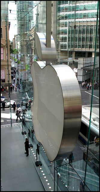 NYC. Manhattan.  Apple Store, fifth avenue. I love the clear glass building with the escalators going down.