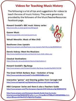 FREE download for a limited time!     A two page file containing the names and links to videos/DVDs used by music teachers when teaching units on composers/music history.