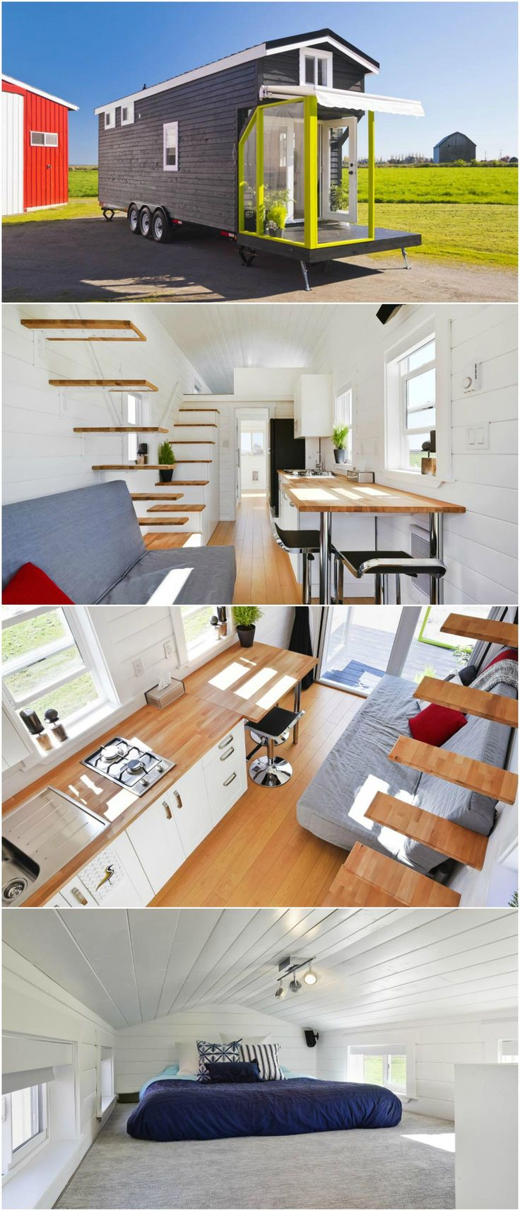 This custom tiny house is built by Mint Tiny Homes. It measures 310 sq.ft. between the main floor and two lofts. One loft is accessed by floating stairs and the other loft is accessed by storage stairs that offer a large amount of cabinet space. The kitchen includes a two burner stove, upper cabinets, and an apartment size refrigerator. The bathroom has a laundry area and glass enclosed corner shower. #tinyhousekitchenstorage