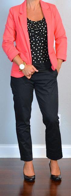 outfit post: coral blazer, black & white polka-dot top, black cropped pants, black wedges