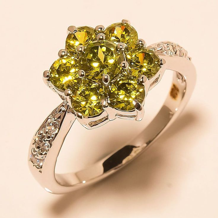 Peridot, White Topaz 925 Sterling Silver Jewelry Ring 8