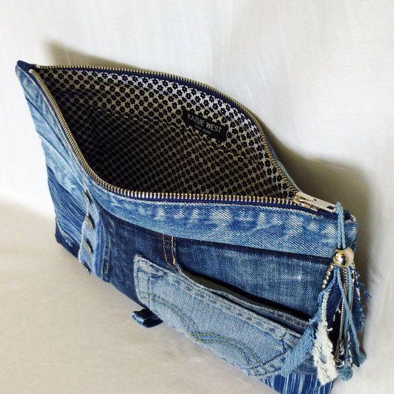 Recycled Old Jeans & Hand-dyed Indigo Fabric Clutch por Kazuenxx