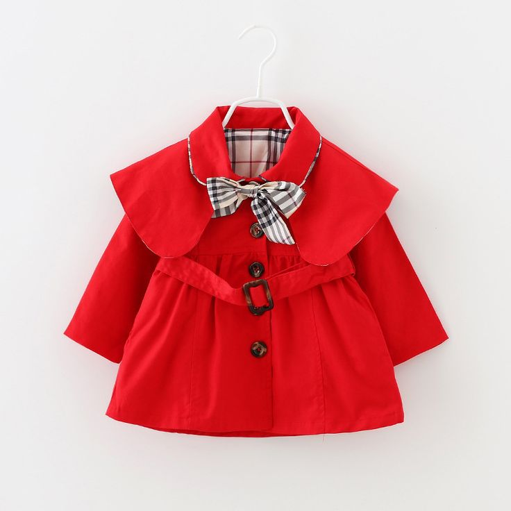 US $15.22 Fashion Baby Girls Trench Coat Autumn Full Sleeve Girls Jacket Khaki Plaid Bowknot European Style Children Coat Outerwears aliexpress.com