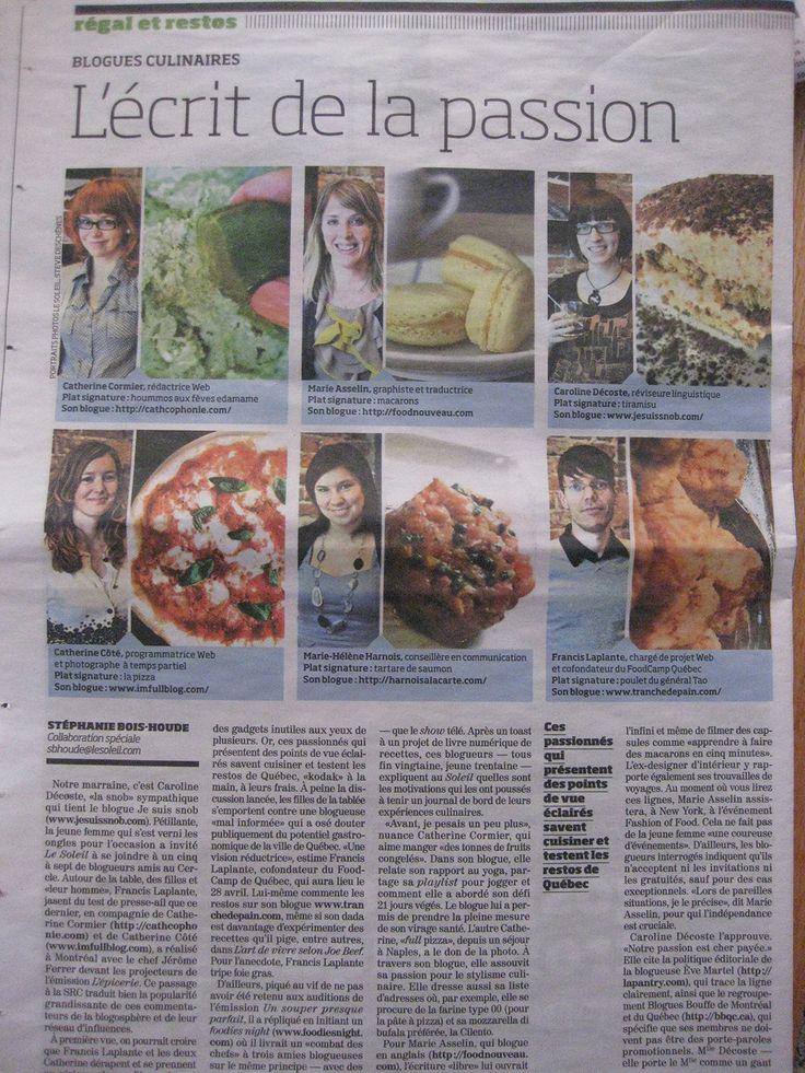 Un article dans Le Soleil sur les foodies de Québec