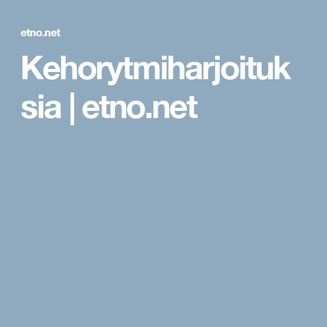 Kehorytmiharjoituksia | etno.net