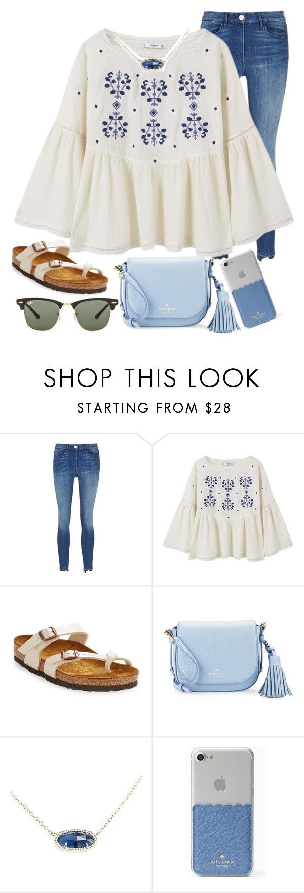 """blues"" by ashton7276 ❤ liked on Polyvore featuring 3x1, MANGO, Birkenstock, Kate Spade, Kendra Scott and Ray-Ban"
