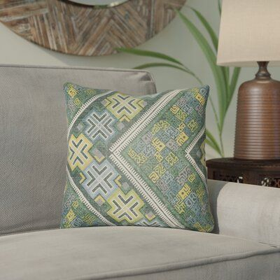 Bloomsbury Market Kalish Indoor/Outdoor Geometric Throw Pillow Size: 16″ H x 16″ W, Color: Kelly Green/Teal