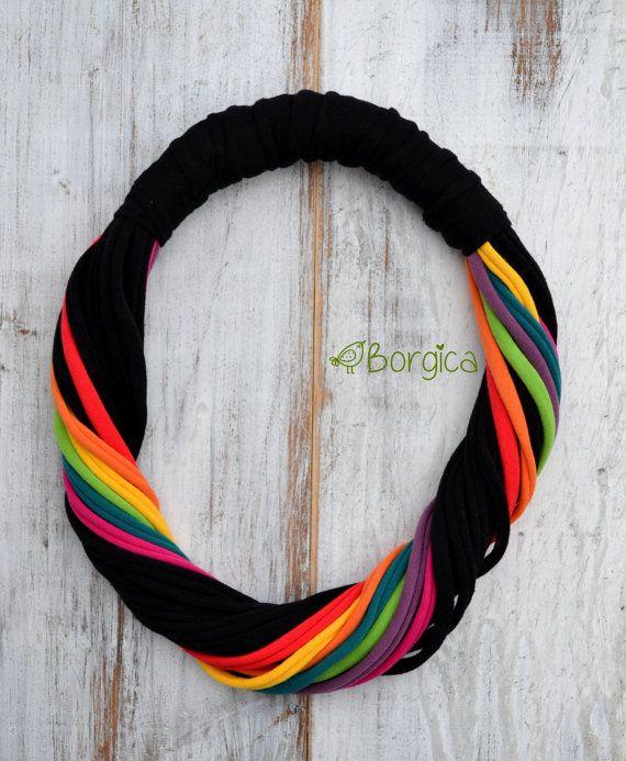 Arcobaleno nero grosso Multistrand tessuto riciclato upcycled