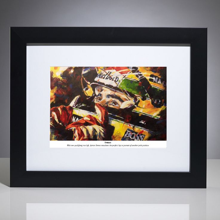 This limited edition F1 art print by British artist, Simon Canacott captures Senna visualising the perfect final lap to seal another podium finish.  Limited edition of 500 prints; signed and numbered by the artist. Framed by our professional framing team with a matt black frame and white conservation-grade mount board, protected with Perspex art screen.  Unframed print measures 36cm x 28cm (14 x 11 inches).