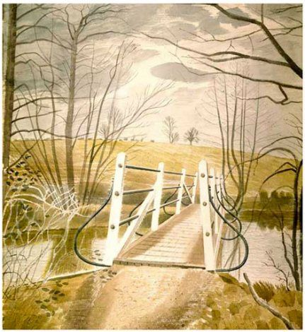 Ironbridge at Ewenbridge - Eric Ravilious  Size: 54.6 x 49.5 cm; incl. border: 69 x 61cm    Format: Giclée Print, Limited Edition (1/950) on 310gsm thick 100% cotton rag. Hand-numbered and hand-embossed.