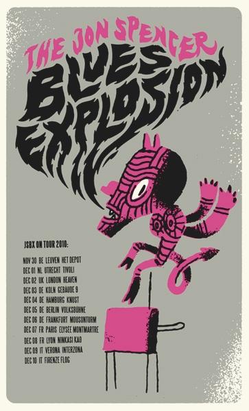 Poster design for Jon Spencer Blues Explosion. Design by Sami Vähä-Aho 2010.