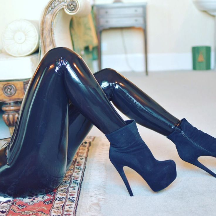blue suede heels and shiny black latex