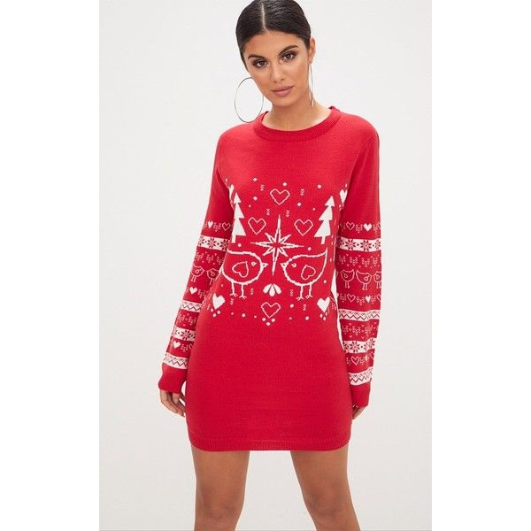 Red Fairisle Christmas Jumper Dress (200 SEK) ❤ liked on Polyvore featuring dresses, red, red dress, knit dress, light weight dresses, lightweight dresses and christmas dresses