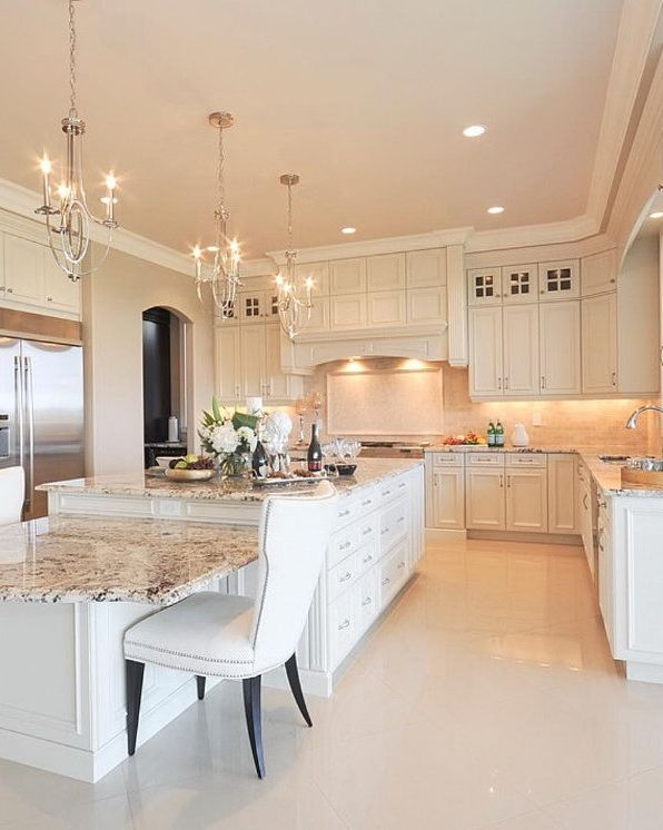 Large creamy white kitchen