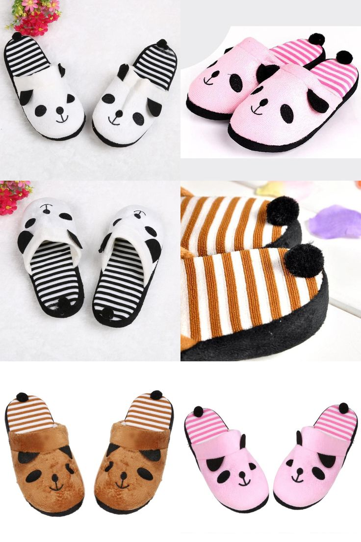 [Visit to Buy] Indoor Lovely Cartoon Panda Home Floor Soft Stripe Slippers For Women Shoes Cotton-padded Shoes Female Casual Women Hot Selling #Advertisement
