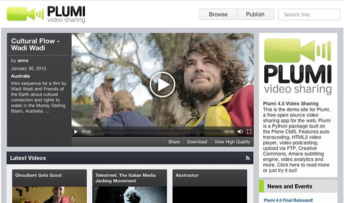 Plumi is an open source video sharing *platform*. If you wanted to build a project that lets people upload video, etc (a la youtube, et al) then this is a good place to begin from.