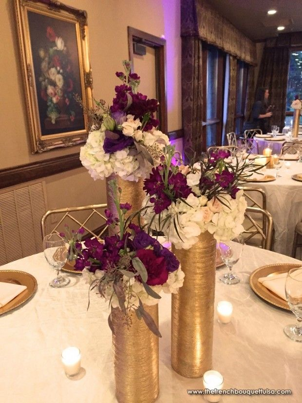 Gold Zodiac Vase Centerpieces With White Hydrangea And Purple
