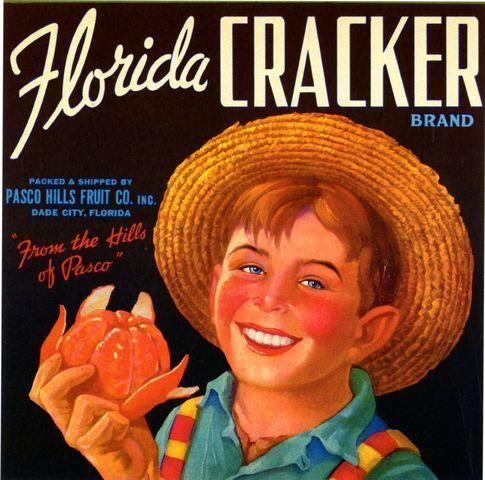 Dade City Florida Cracker Boy Orange Crate Label Art Print