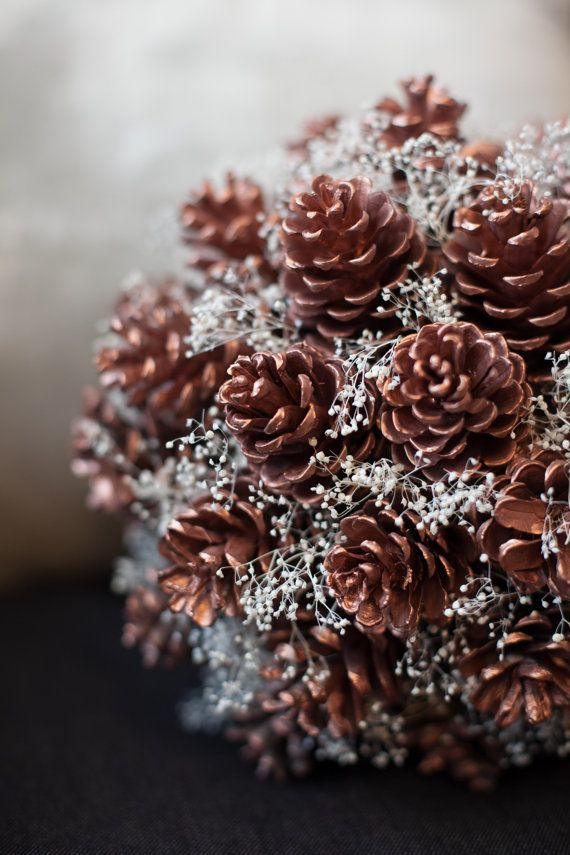 Pine Cone Bouquet with Baby's Breath by ForbesDeal on Etsy, $100.00