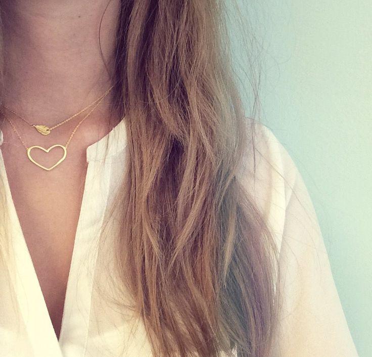 Zilveren Heart to Get ketting, goud verguld.  www.ajuweliers.nl