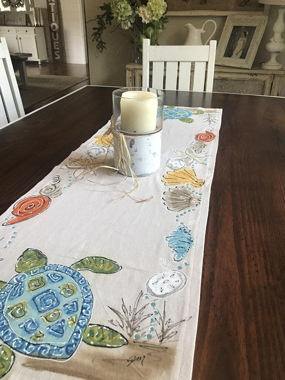 Beach Theme Runner Cottage Tablecloth Hand Painted Seashells