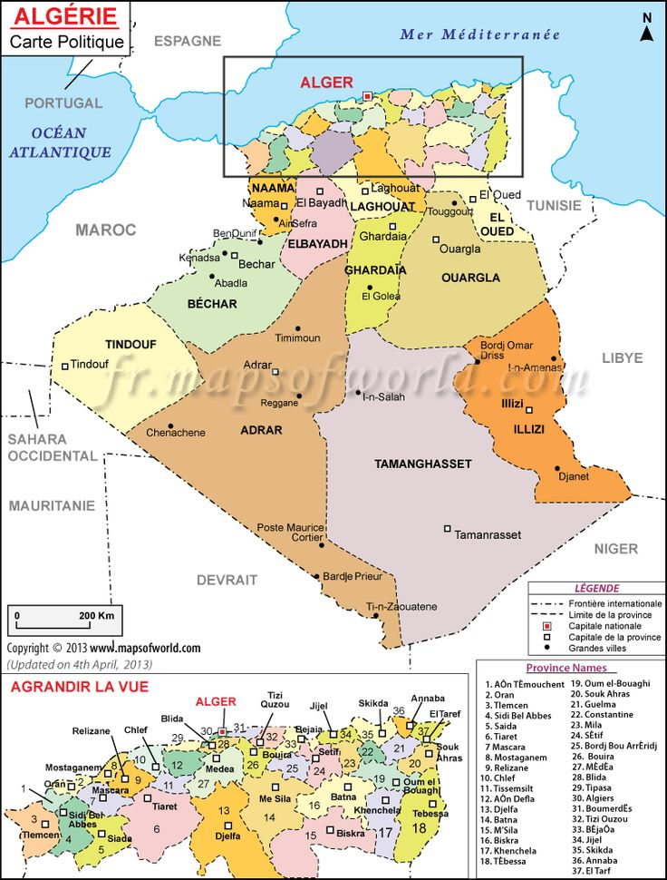 Carte Algérie avec les provinces et les capitales