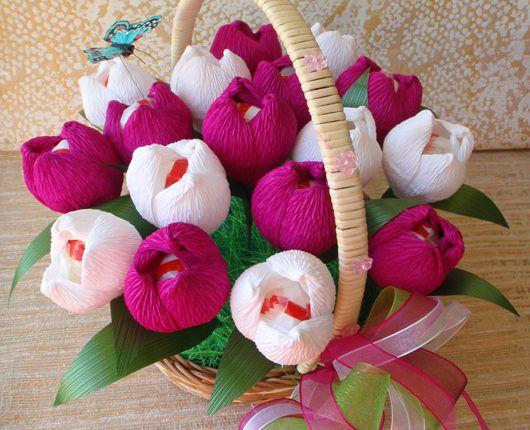 Букет бумажных тюльпанов из бумаги своими руками